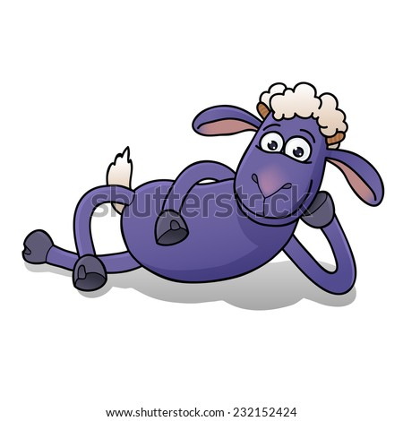 illustration of funny cartoon goat lying on his side, symbol of year 2015 by chinese horoscope, isolated on white