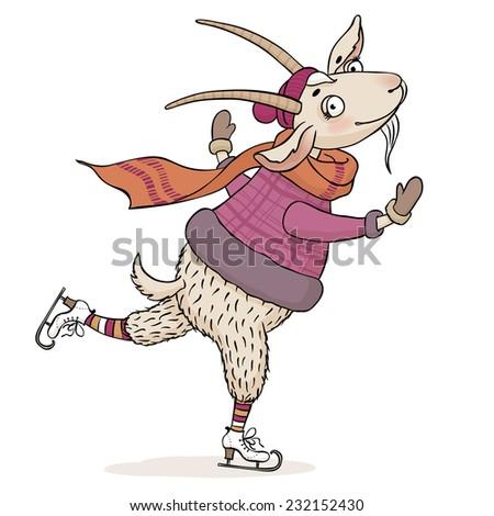 illustration of funny cartoon goat skating isolated on white background - stock photo