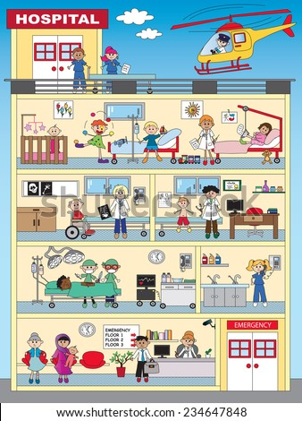 illustration of funny hospital with people - stock photo