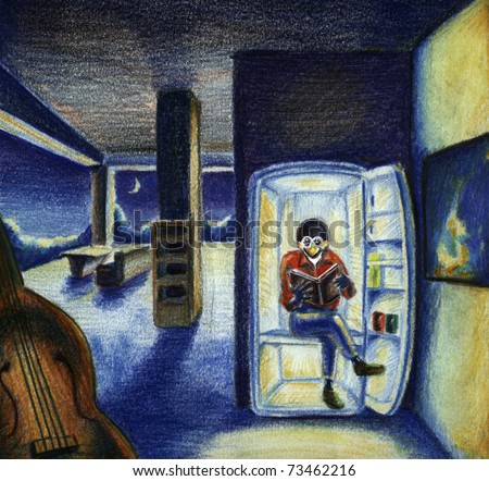 Illustration of funny penguin reading a book in the fridge