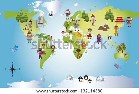 illustration of funny world with different people - stock photo