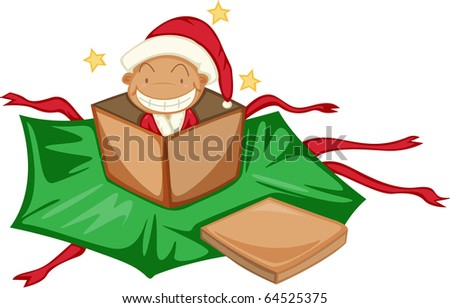 illustration of gift box and santa clause on a white background