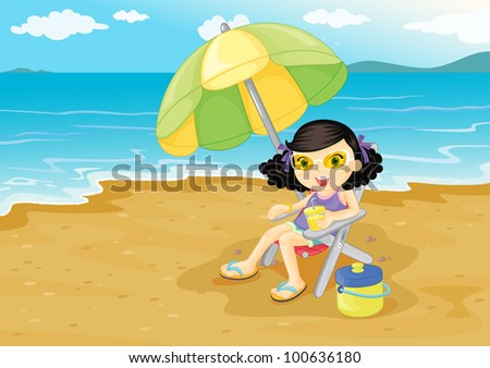 Illustration of girl at the beach - EPS VECTOR format also available in my portfolio. - stock photo