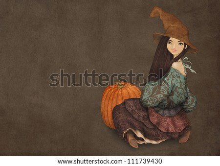 Illustration of girl in Halloween hat, dressed as a witch and with pumpkin on dark paper background. Halloween party invitation template - stock photo