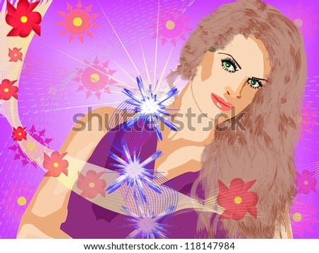 Illustration of girl with colorful flowers background. - stock photo