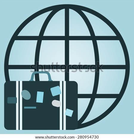 illustration of global travel concept with  suitcase and globe - stock photo