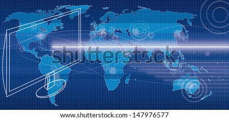 Illustration of globalization trough internet technology