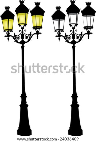 Illustration of Glowing retro street lamp