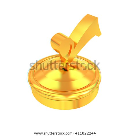 illustration of gold checkmark on isolated background . 3D illustration. Anaglyph. View with red/cyan glasses to see in 3D. - stock photo