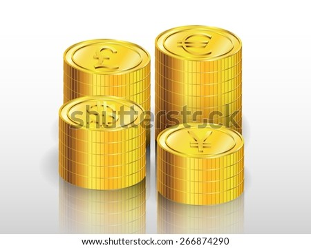 Illustration of gold coin - stock photo