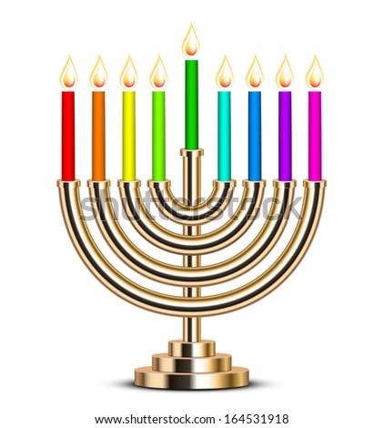 illustration of gold Hanukkah menorah - stock photo