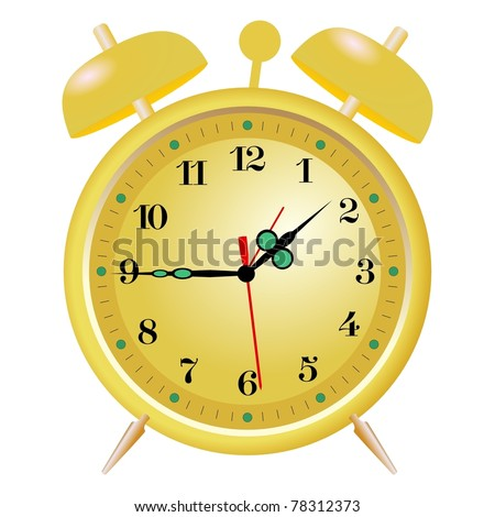 Illustration of golden alarm clock
