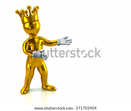 Illustration of golden cartoon character man with crown presenting something - stock photo