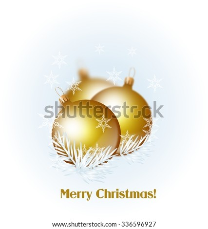 Illustration of golden christmas bulbs on snowy background