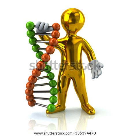 Illustration of golden man and DNA - stock photo