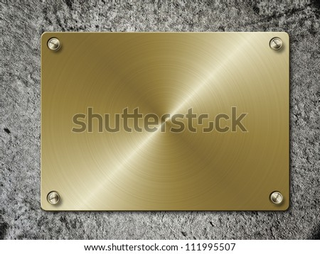 Illustration of golden metal plate on concrete wall.