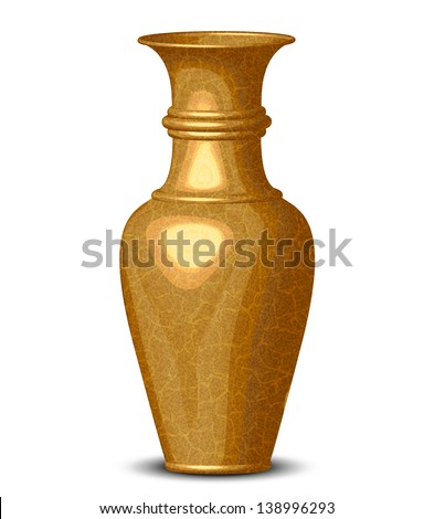 Illustration of golden shiny vase