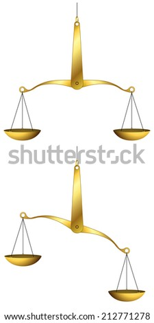 Illustration of golden weigh-scales isolated on white background. - stock photo