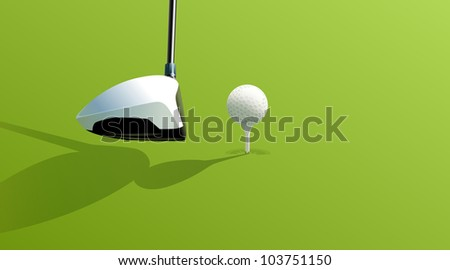Illustration of golf drive on green - EPS VECTOR format also available in my portfolio. - stock photo