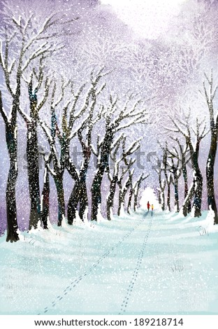 Illustration of gorgeous landscape and snowy path