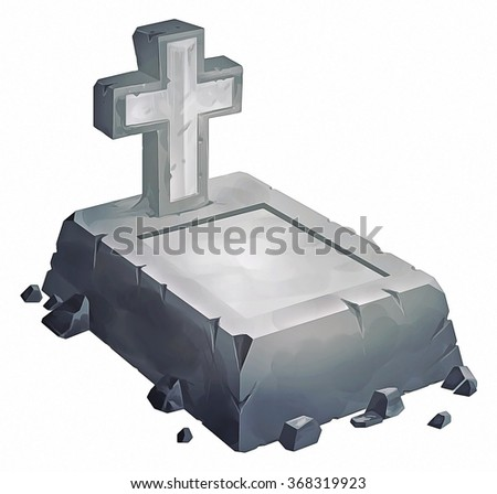illustration of grave and cross made of stone