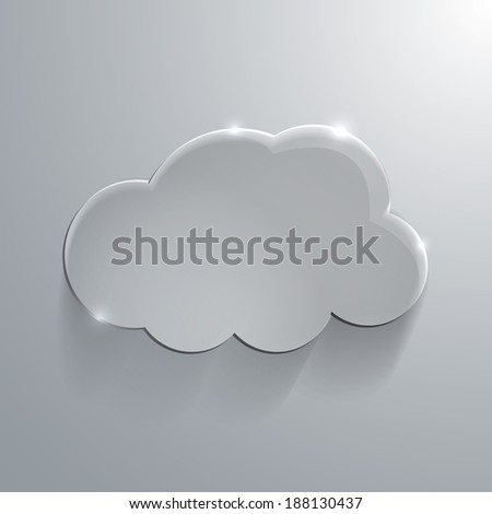 Illustration of Gray eco glossy glass cloud icon illustration