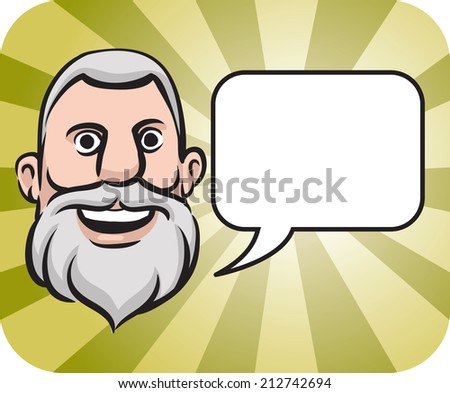 illustration of gray haired bearded face with speech bubble - stock photo