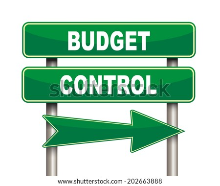 Illustration of green arrow and road sign of budget control - stock photo