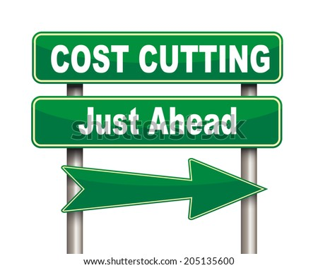 Illustration of green arrow and road sign of Cost cutting - stock photo