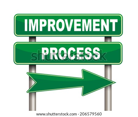 Illustration of green arrow and road sign of improvement process - stock photo