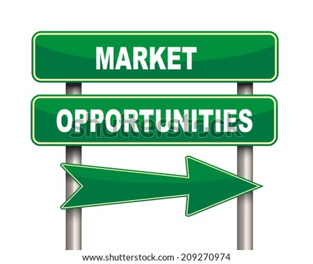 Illustration of green arrow and road sign of market opportunities - stock photo