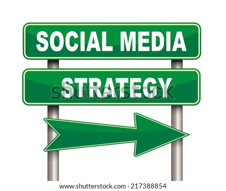 Illustration of green arrow and road sign of social media strategy concept - stock photo