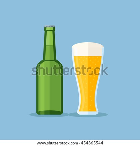 Illustration of green bottle and glass with beer on blue background. Flat style.
