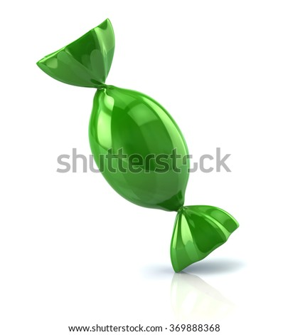 Illustration of green candy isolated on white background