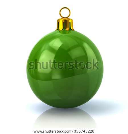 Illustration of green Christmas ball isolated on white background - stock photo