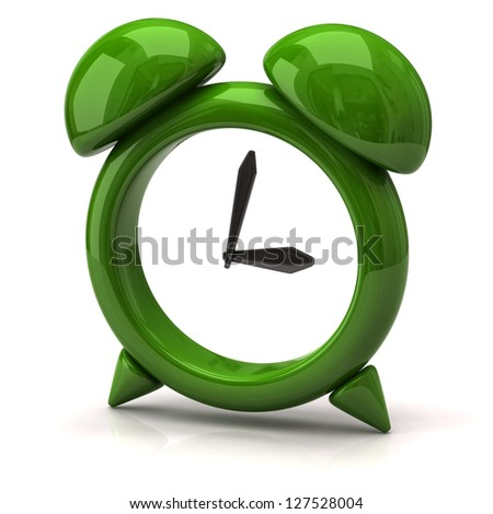 Illustration of green clock - stock photo
