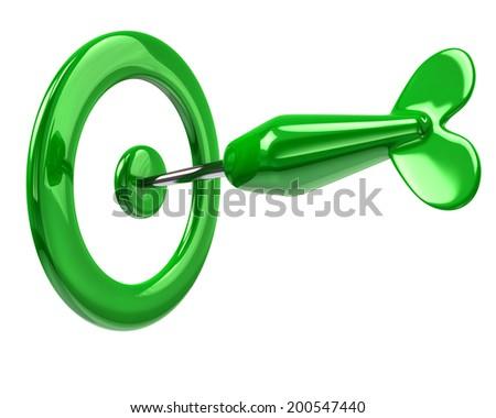 Illustration of green dart in target - stock photo