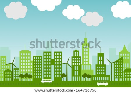Illustration of green, eco-friendly city with wind turbines and trees. - stock photo