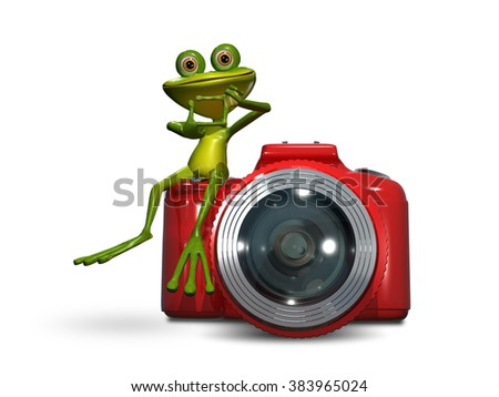 Illustration of green frog on a red camera - stock photo