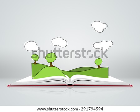 Illustration of green landscape with hills covered grass and tree on open book on gray background with clouds - stock photo