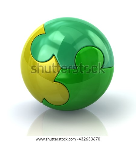 Illustration of green puzzle sphere isolated on white background - stock photo