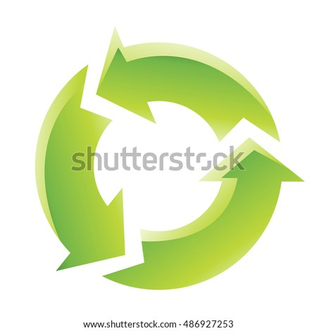 Illustration of Green Recycling Icon isolated on a white background