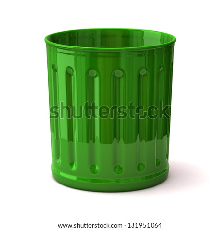 Illustration of green trash can - stock photo