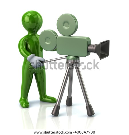 Illustration of green video camera operator isolated on white background - stock photo