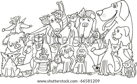 Illustration Of Group Cats And Dogs For Coloring Book
