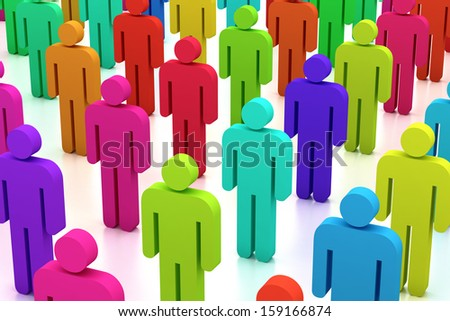 Illustration of group of colorful 3d figures  - stock photo