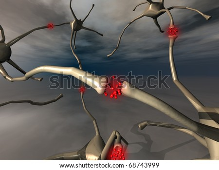 illustration of group of neurons with sinapsis in red color - stock photo