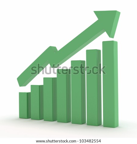 illustration of growth / raise / share market - stock photo