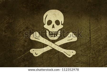 Illustration of grunge jolly roger or skull and cross bones pirate flag. - stock photo