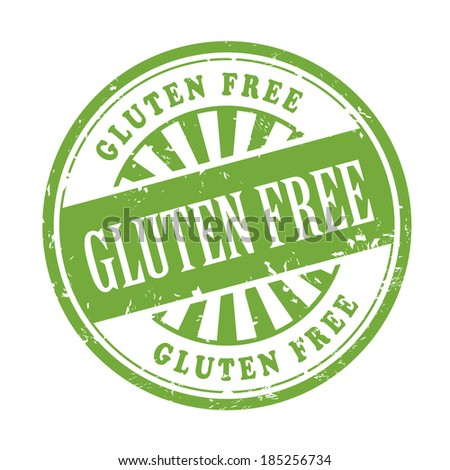 illustration of grunge rubber stamp with the text gluten free written inside